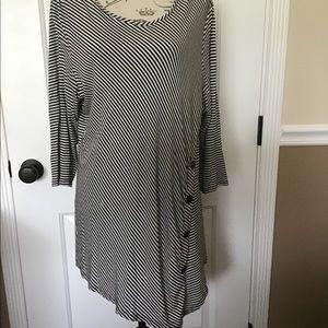 1X Como Vintage Plus Striped 3/4 sleeve Shirt
